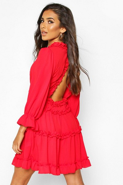 Boohoo Woven Ruffle Trim Skater Dress in red