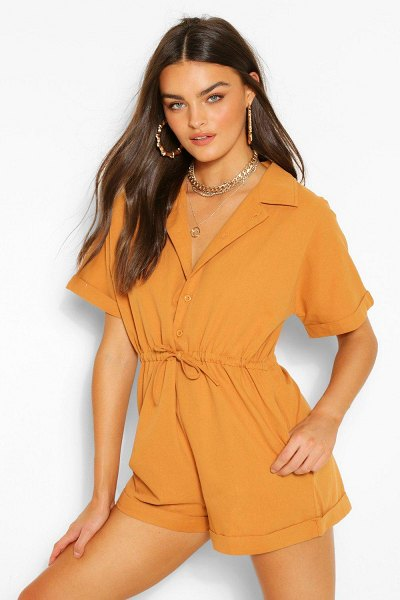 Boohoo Woven Short Sleeve Drawstring Utility Romper in camel
