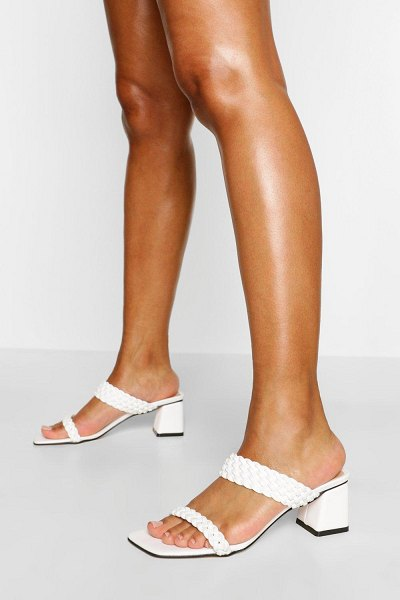 Boohoo Woven Strap Low Block Heel Mules in white