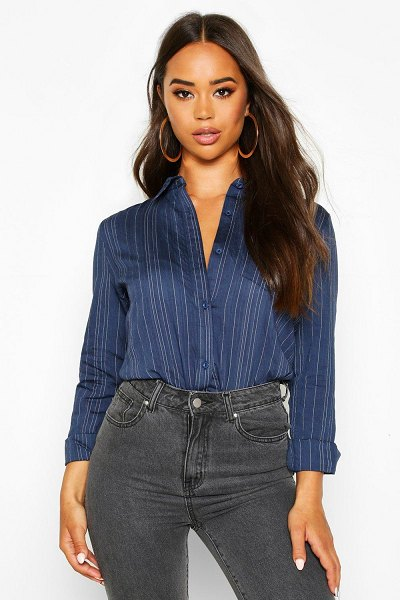 Boohoo Woven Stripe Shirt in navy
