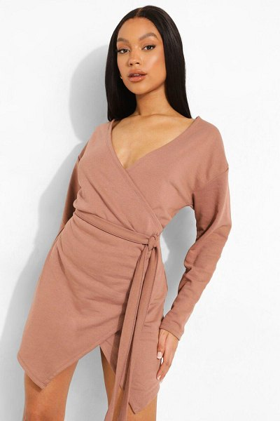 Boohoo Wrap Belted Sweat Dress in chocolate