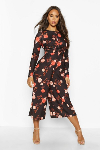 Boohoo Wrap Front Floral Culotte Jumpsuit in black