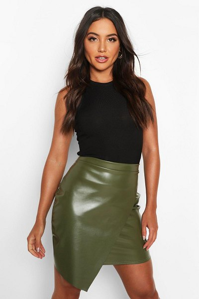 Boohoo Wrap Front Leather Look Mini Skirt in khaki