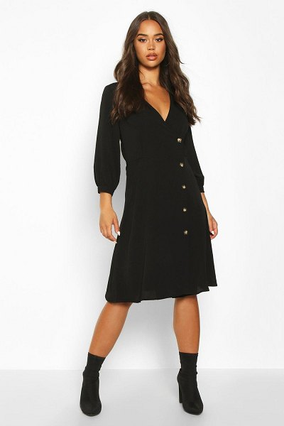 Boohoo Wrap Over Button Front Midi Dress in black
