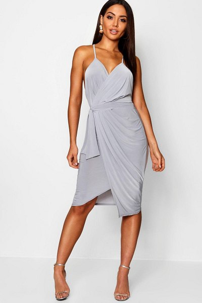 Boohoo Wrap Over Exposed Side Detail Slinky Midi Dress in silver