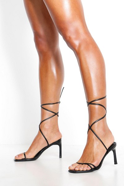 Boohoo Wrap Strappy Heeled Sandals in black