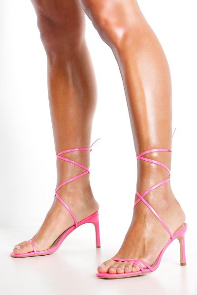 Boohoo Wrap Strappy Heeled Sandals in hot pink