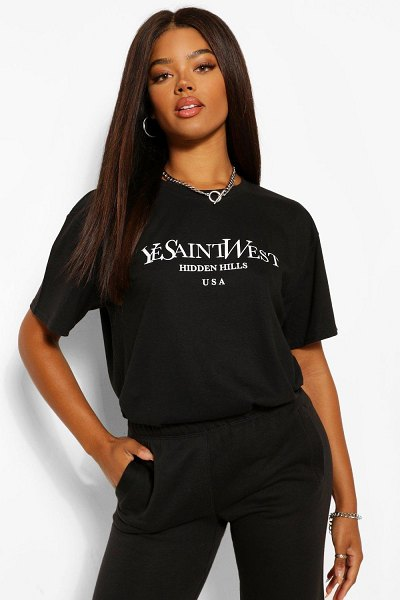 Boohoo Ye Saint West Oversized T-Shirt in black