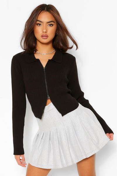 Boohoo Zip Through Polo Collar Cardigan in black