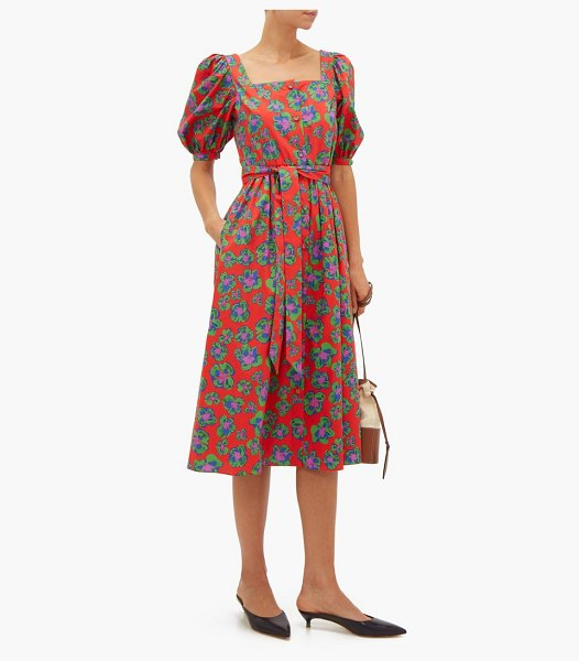 BORGO DE NOR corin belted floral print cotton midi dress in red print - Borgo De Nor - Borgo de Nor's fascination with the art...