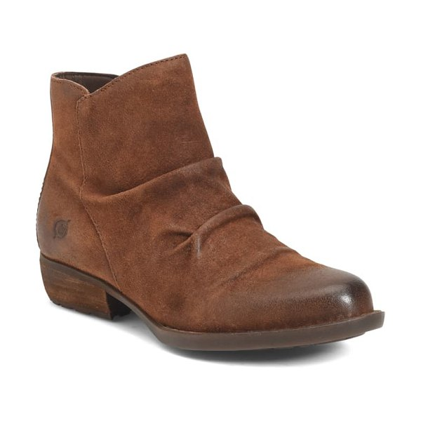 Born b?rn falco ruched bootie in rust distressed suede