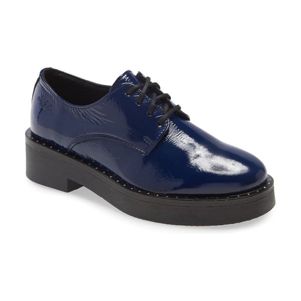 Bos. & Co. fond waterproof platform derby in royal blue patent leather