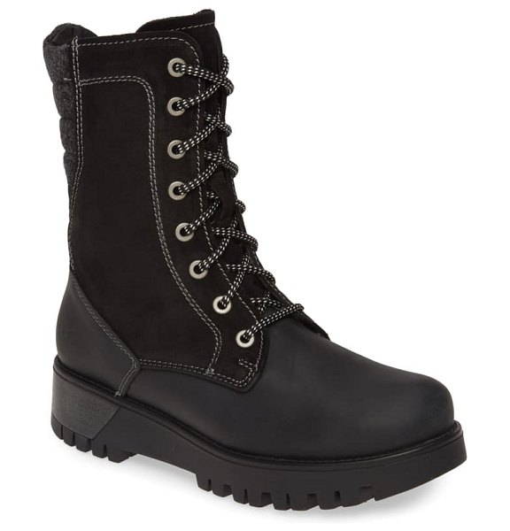 Bos. & Co. galaxy prima waterproof insulated boot in black leather/ suede