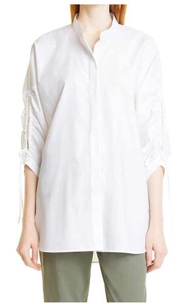 BOSS benima ruched sleeve cotton blouse in white