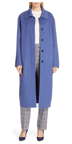 BOSS conami coat in soft blue - Layer on rich color via this brushed wool-blend coat in...