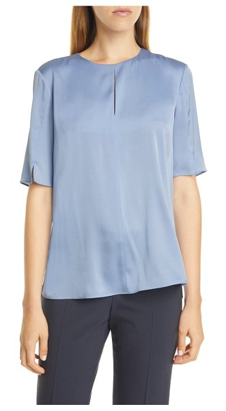 BOSS iome slit detail stretch silk blouse in sky