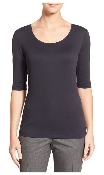 BOSS scoop neck stretch jersey top in black