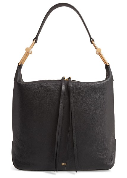 BOSS small christy leather hobo in black