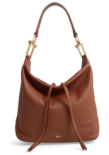 BOSS small christy leather hobo in light/ pastel brown