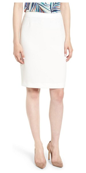 BOSS vimena pencil skirt in white - A polished work skirt is tailored from a lightly...