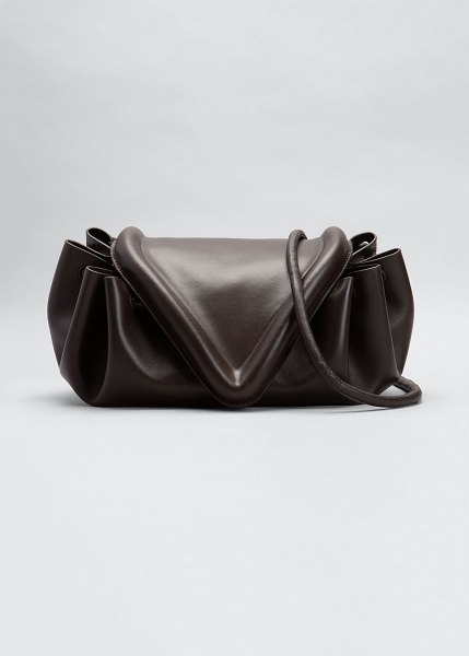 Bottega Veneta Beak V Flap Medium Shoulder Bag in dark brown