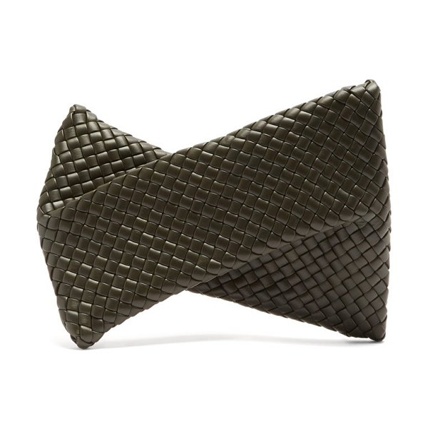 Bottega Veneta bv crisscross intrecciato leather clutch in dark green