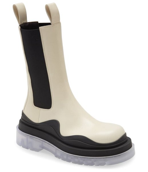 Bottega Veneta bv tire clear sole chelsea boot in wax/ black