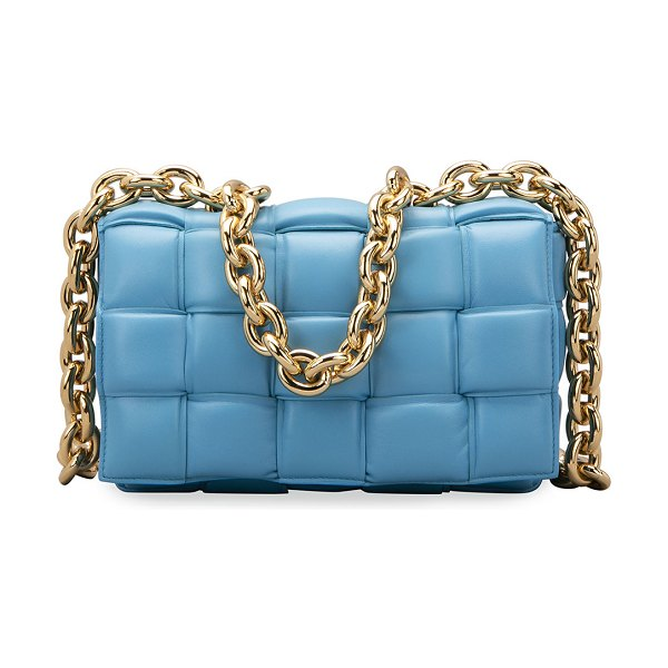 Bottega Veneta Cassette Chain Shoulder Bag in light blue
