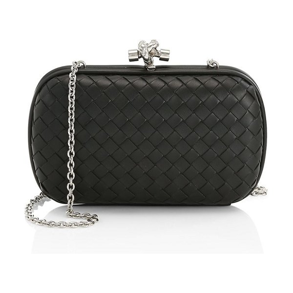 Bottega Veneta chain knot satin clutch in grafite