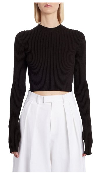 Bottega Veneta crop sweater in espresso