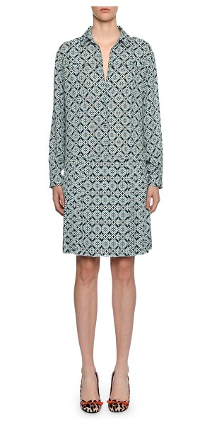 Bottega Veneta Geometric-Print Silk Drop-Waist Dress in blue pattern