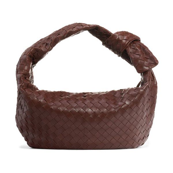 Bottega Veneta intrecciato leather hobo bag in bark/ gold