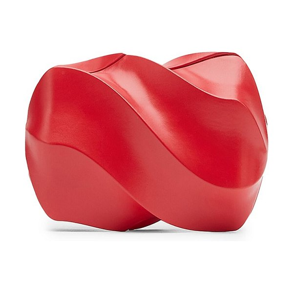 Bottega Veneta paper leather clutch in scarlet