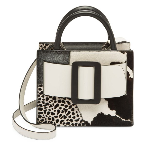 Boyy bobby patchwork calf hair & leather tote in black white