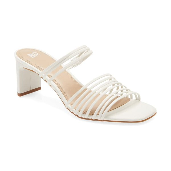 BP. brittany slide sandal in white faux leather