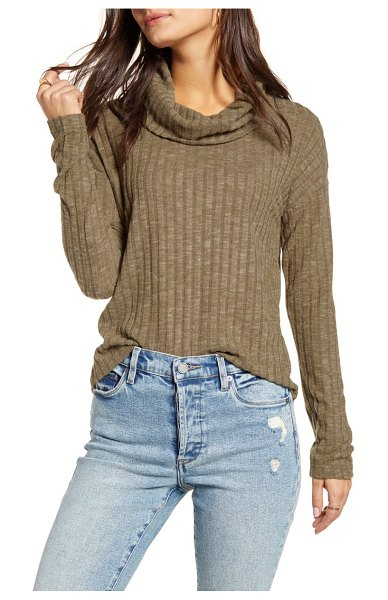 BP. cozy ribbed turtleneck top in olive italy