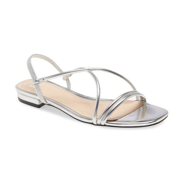 BP. fiona strappy flat sandal in silver faux leather