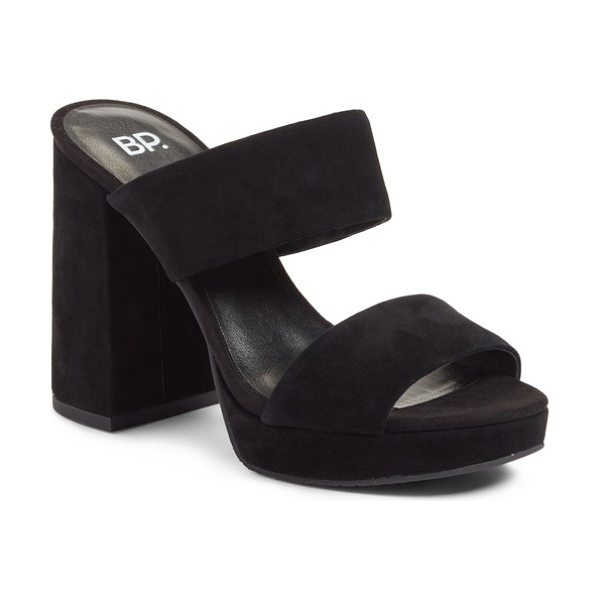 BP. sophia platform sandal in black suede - A simple 2-strap sandal is taken to new heights with a...