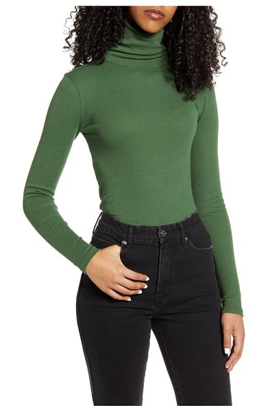 BP. turtleneck ribbed top in green pastures