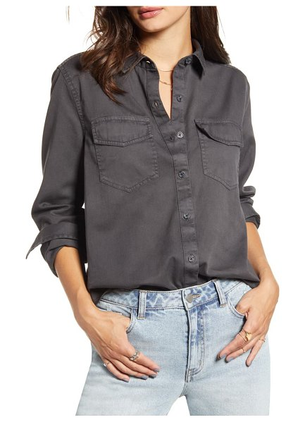 BP. washed chambray shirt in black
