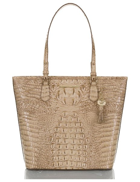 Brahmin asher croc embossed leather tote in sand