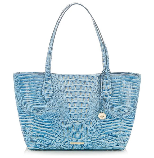 Brahmin athena croc-embossed leather tote in cerulean