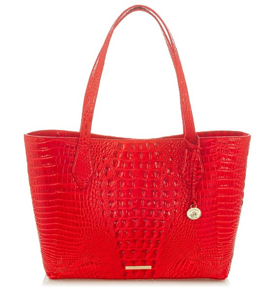 Brahmin athena croc-embossed leather tote in candy apple