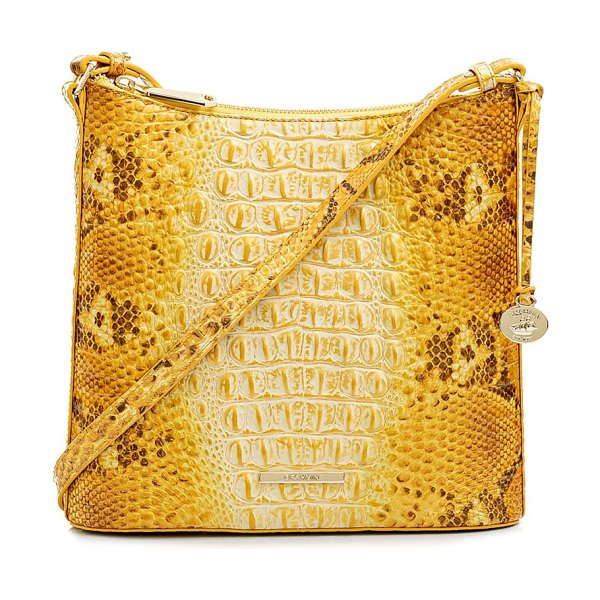 Brahmin katie croc embossed leather crossbody bag in canary