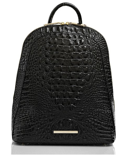 Brahmin large rosemary croc embossed leather backpack in black