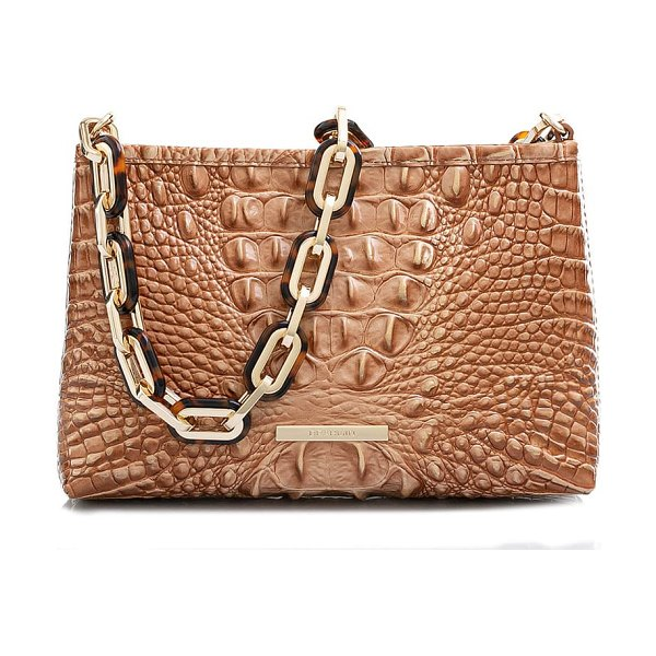 Brahmin mod lorelei croc embossed leather shoulder bag in terracotta