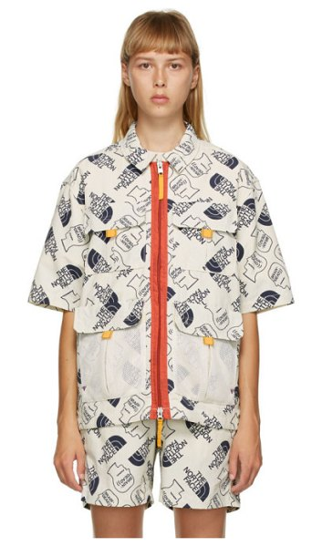 Brain Dead off- the north face edition boxy short sleeve shirt in white