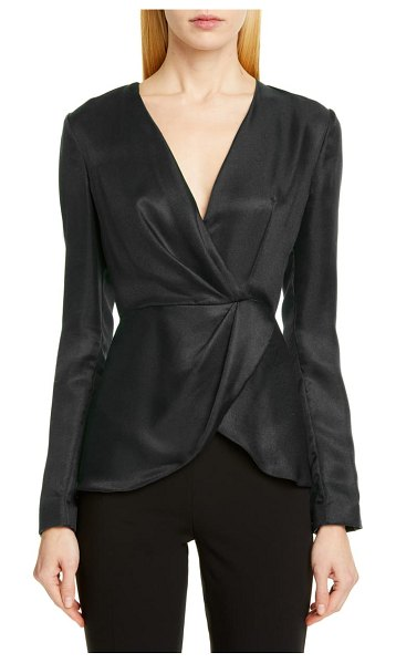 Brandon Maxwell wrap front silk satin blouse in black