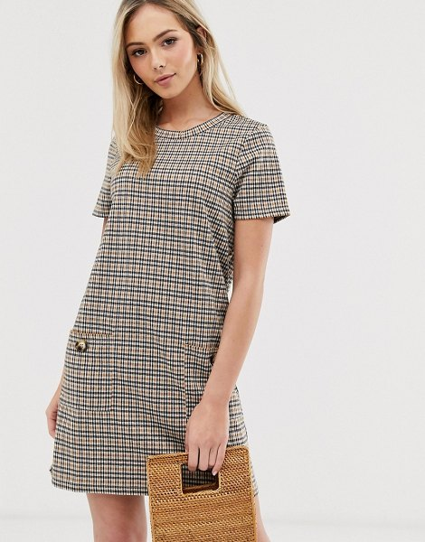 Brave Soul baylea shift dress in check in brownblackwhite