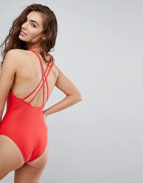7bc7e134752 Brave Soul Scoop Back Swimsuit in Red | Shopstasy